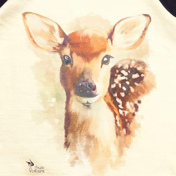 Sweat shirt pour fille beige et noir imprimé Bambi, biche pour les petites filles de 2 à 16 ans de la marque de vêtement enfant LA FAUTE A VOLTAIRE