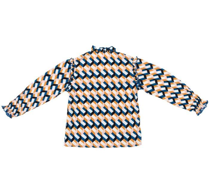 blouse imprimée géométrique bleu roi, rose saumon, jaune moutarde avec col et emmanchure à volants pour petites filles de 2 à 12 ans