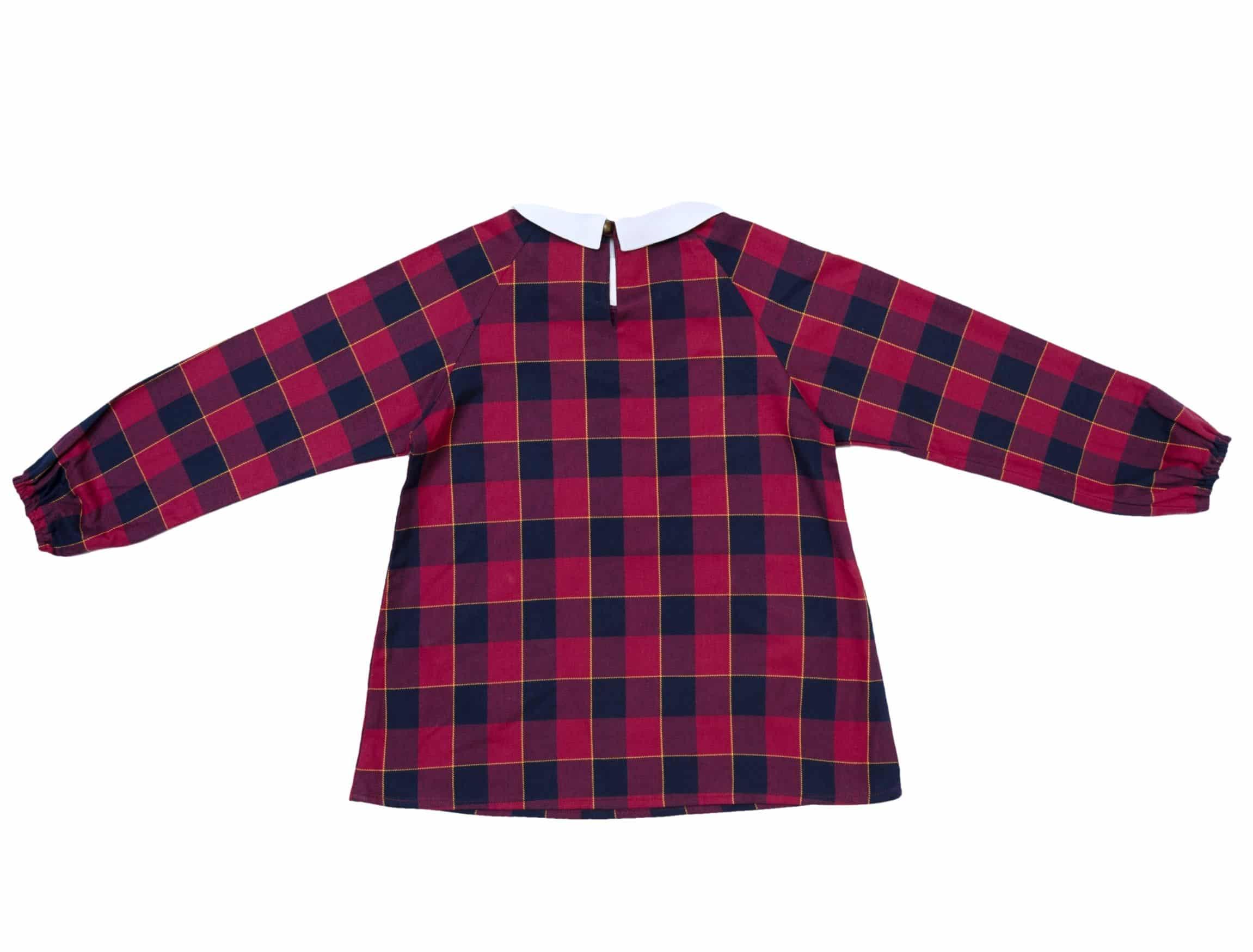blouse col Claudine blanc à carreaux tartan rouge et bleu marine pour filles de 2 à 14 ans