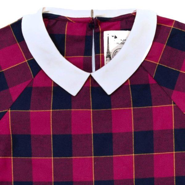 blouse à carreaux rouge bordeaux, bleu marine et jaune à col Claudine blanc pour petites filles de la marque de mode pour enfant LA FAUTE A VOLTAIRE