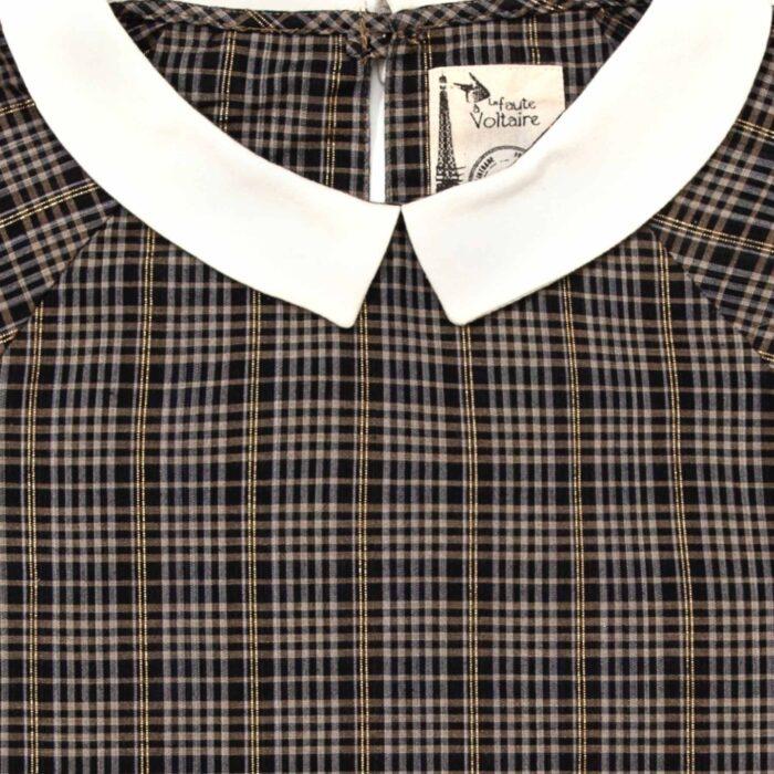 blouse carreaux tartan gris anthracite fils dorés à col Claudine blanc pour filles de 2 à 12 ans