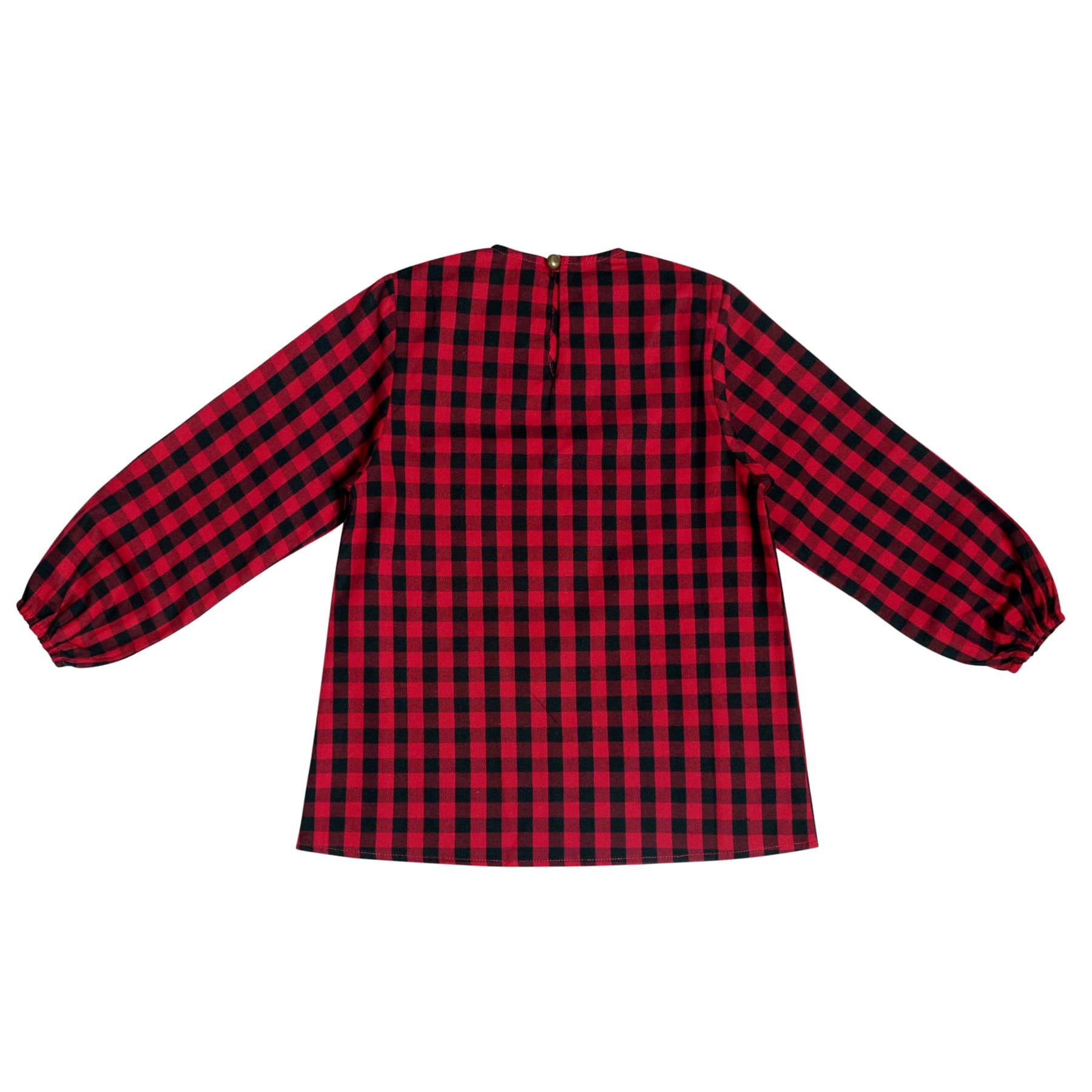 Blouse à carreaux noirs et rouges avec col à volants et manches élastiques pour filles de 2 à 12 ans