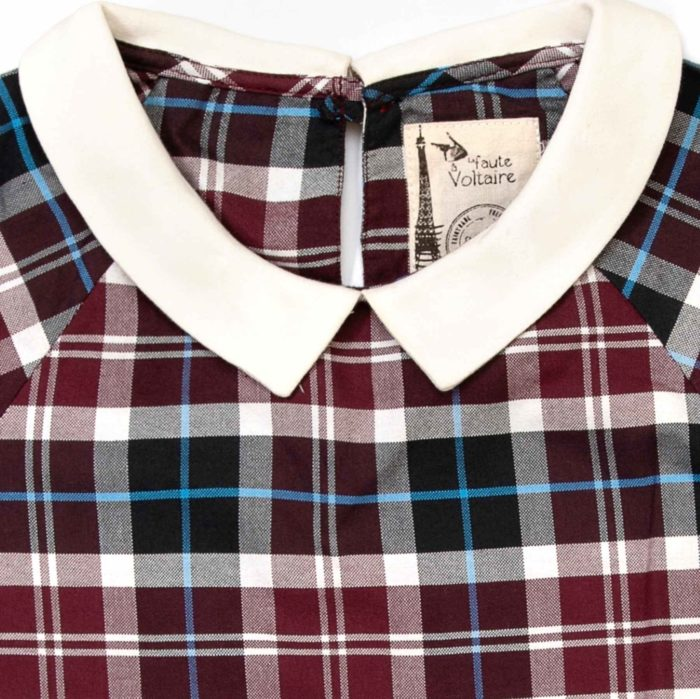 blouse carreaux tartan prune, blanc et bleu ciel avec col Claudine blanc pour petite filles de 2 à 12 ans