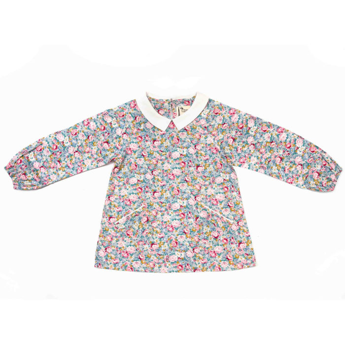 blouse coton liberty rose et bleu avec col Claudine blanc mode automne hiver fille de 2 à 14 ans