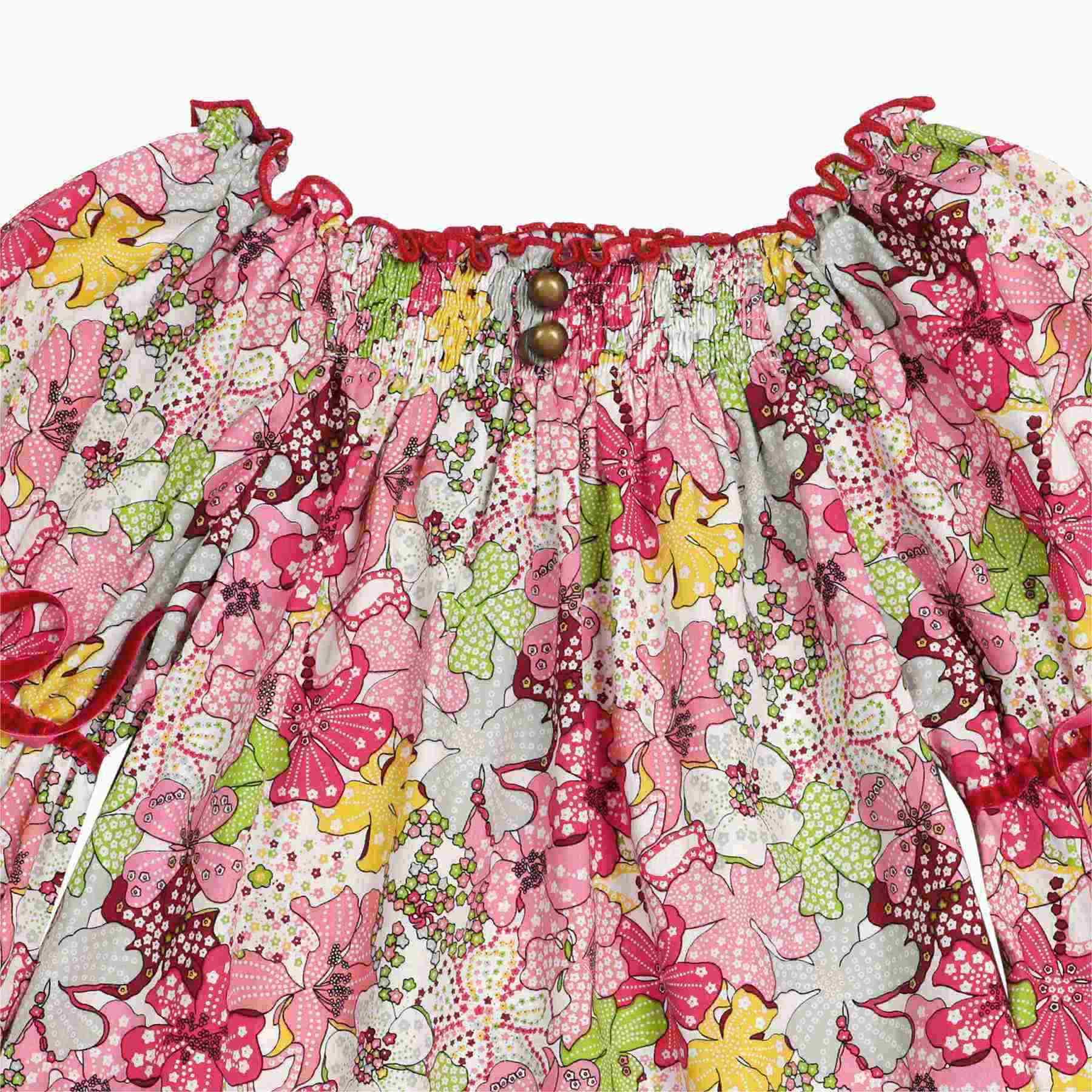 Blouse coton fleurs liberty rouge avec col smocks et manches ballons mode hiver fille
