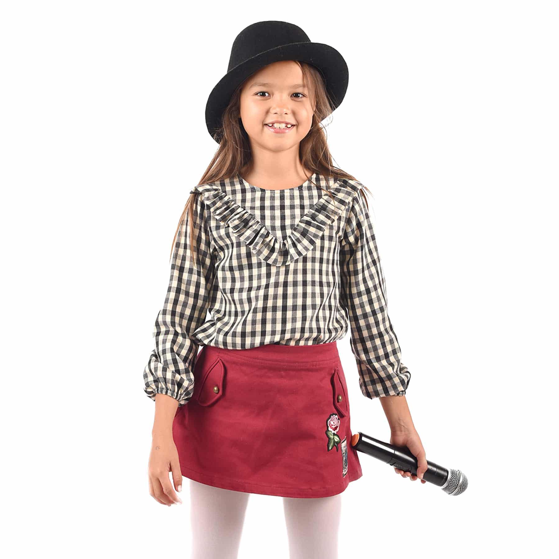 Blouse à carreaux noirs et beiges avec col à volants et manches élastiques pour filles de 2 à 12 ans