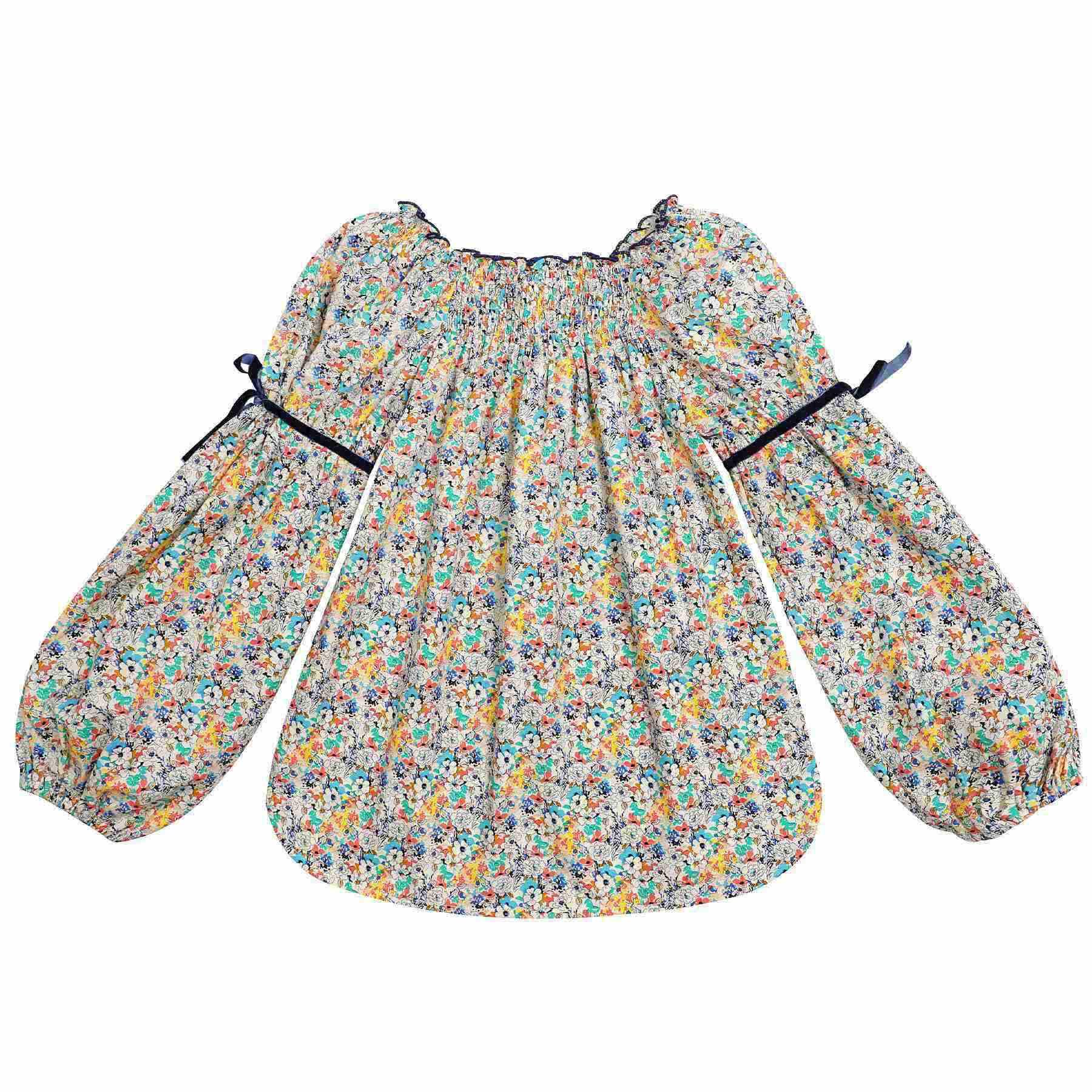 blouse coton liberty petites fleurs jaune et bleu à col smocks et manches ballons pour petites filles de 2 à 14 ans