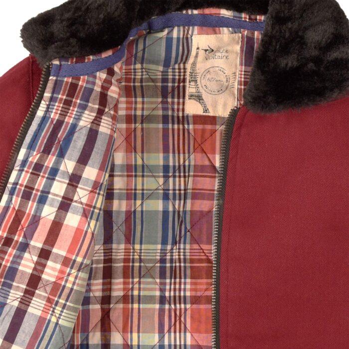 Blouson aviateur intersaison en coton matelassé bordeaux rouge, avec poches, fermeture éclair et doublure en fausse fourrure noire pour garçons de 2 à 12 ans. La Faute à Voltaire, marque créateur française pour enfants en commerce équitable.