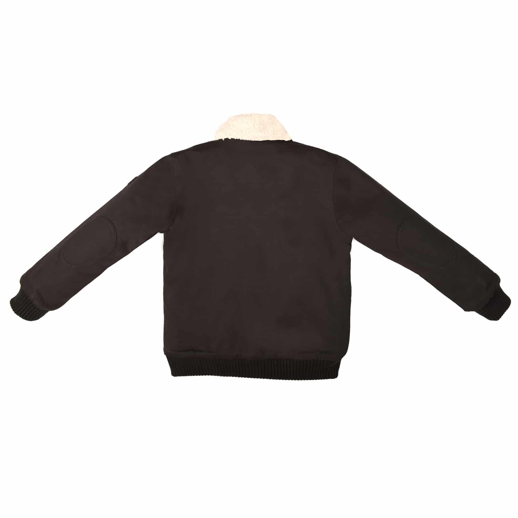 Blouson aviateur intersaison en coton matelassé noir, avec poches, fermeture éclair et doublure en fausse fourrure beige imitation mouton pour garçons de 2 à 12 ans. La Faute à Voltaire, marque créateur française pour enfants en commerce équitable.