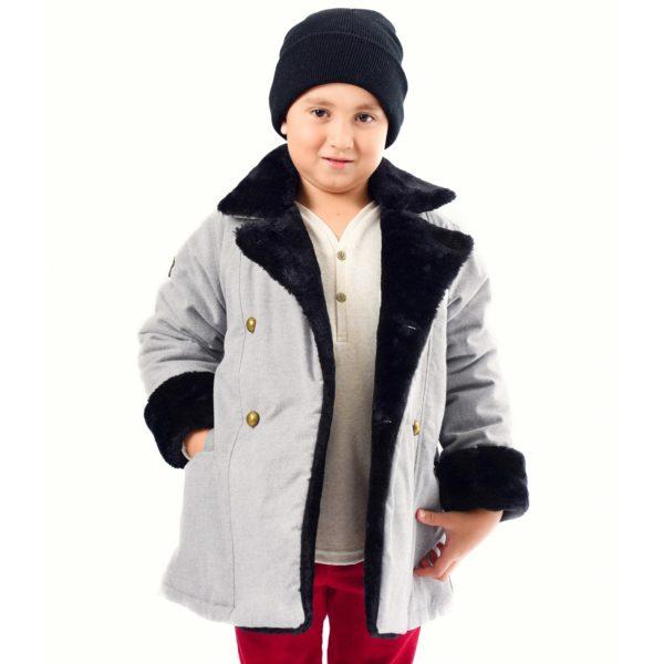 Manteau caban garçon laine gris et fausse fourrure noir