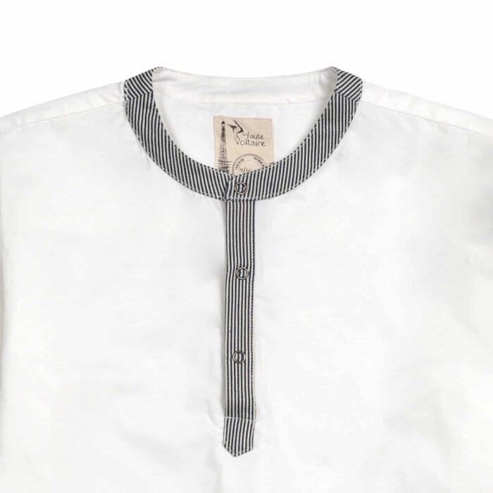 chemise liquette blanche avec col Mao en jeans denim rayures bleu marine et beige pour garçons de 2 à 14 ans