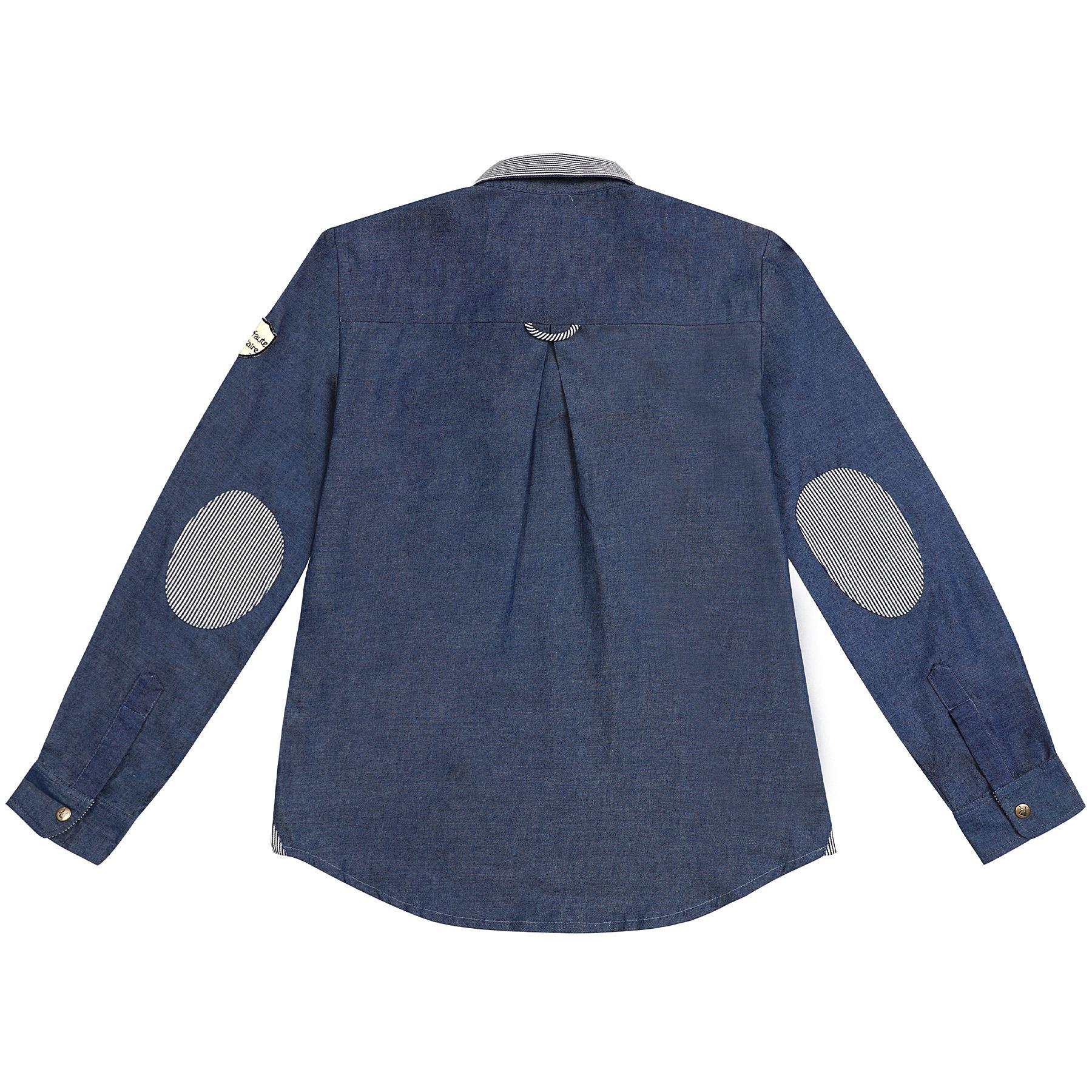 chemise manches longues pour garçon de 2 à 14 ans en fin coton denim bleu foncé avec col pointu et coudières en jean à rayures bleu marine et beige