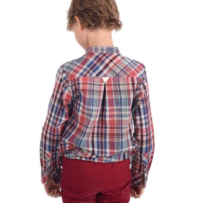 Chemise Col Mao en coton à carreaux bordeaux, bleu, beige et vert avec boutons pression pour garçons de 2 à 12 ans. La Faute à Voltaire, marque créateur française pour enfants en commerce équitable.