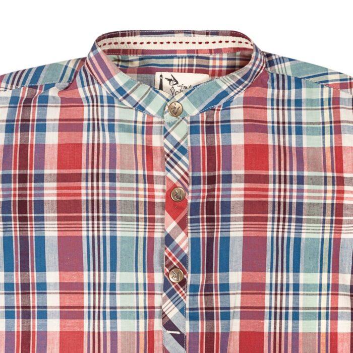Chemise à carreaux rouge bordeaux à col Mao pour garçons de 2 à 12 ans