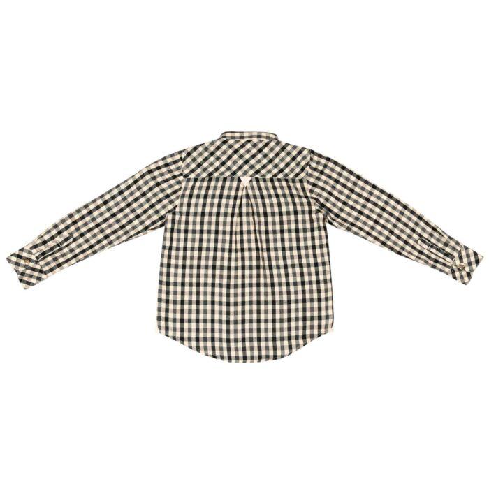Chemise Col Mao en coton à carreaux vichy beiges et noirs avec boutons pression pour garçons de 2 à 12 ans. La Faute à Voltaire, marque créateur française pour enfants en commerce équitable.