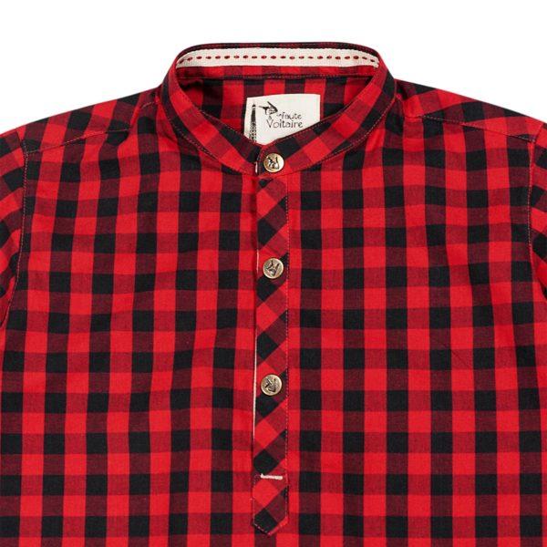 Chemise carreaux rouge et noir à col Mao pour garçons de 2 à 12 ans