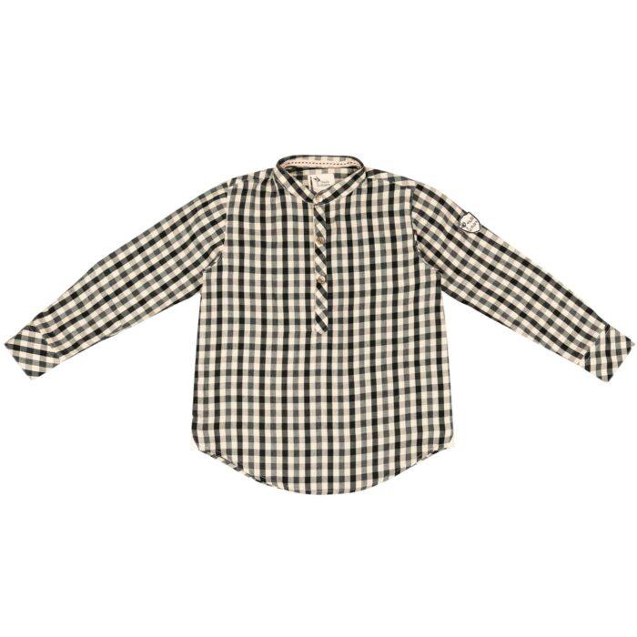 Chemise à carreaux noir et beige à col Mao pour garçons de 2 à 12 ans