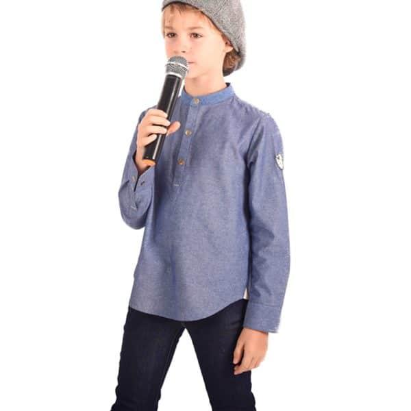 chemise liquette à col Mao en coton denim bleu clair pour garçon de 2 à 14 ans