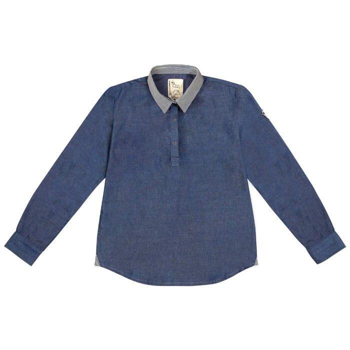 chemise garçon en coton denim bleu marine et col pointu en jeans à rayures bleu marine et beige