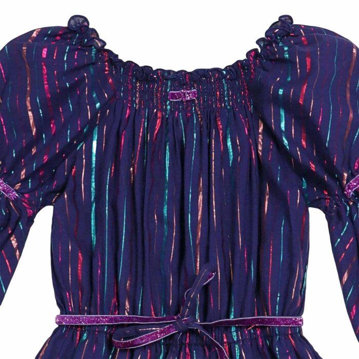 robe longue de soirée à col smocks et volants, couleur bleu indigo à rayures multicolores brillantes pour filles de 2 à 14 ans