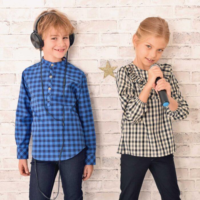 chemise carreaux bleu roi et bleu marine à col Mao et boutons pression bronze pour garçon de 2 à 12 ans