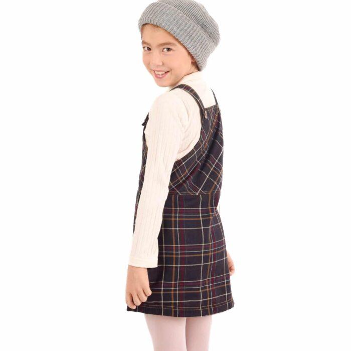 robe salopette fille hiver à carreaux tartan marron vert ocre et prune