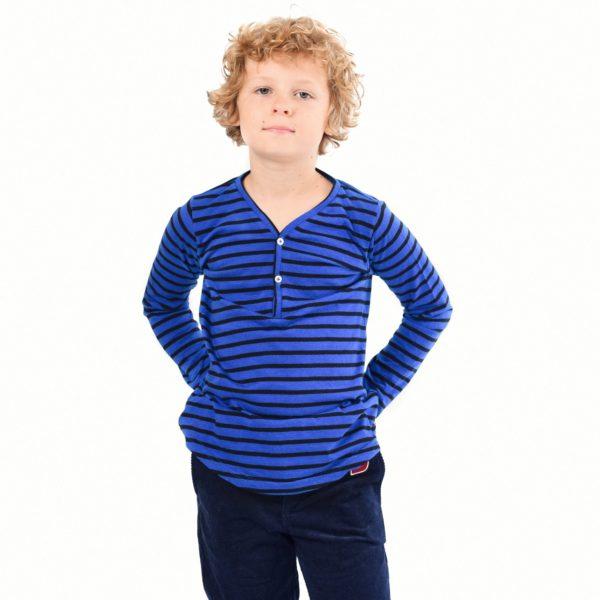 tee-shirt manches longues en coton jersey rayures bleu, col V avec boutons et écusson pour garçon de 2 à 12 ans