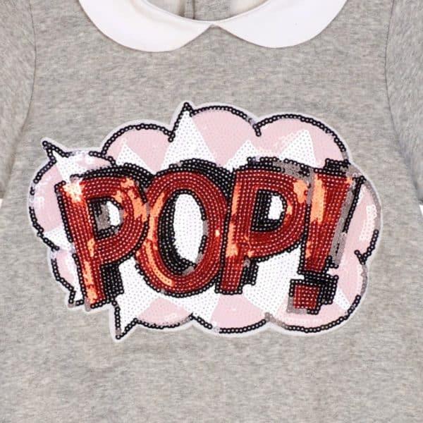 Ecusson sequin robe sweat-shirt en molleton gris souris, col Claudine blanc, pour petites filles et ado de 2 à 16 ans. Marque Française mode enfant LA FAUTE A VOLTAIRE