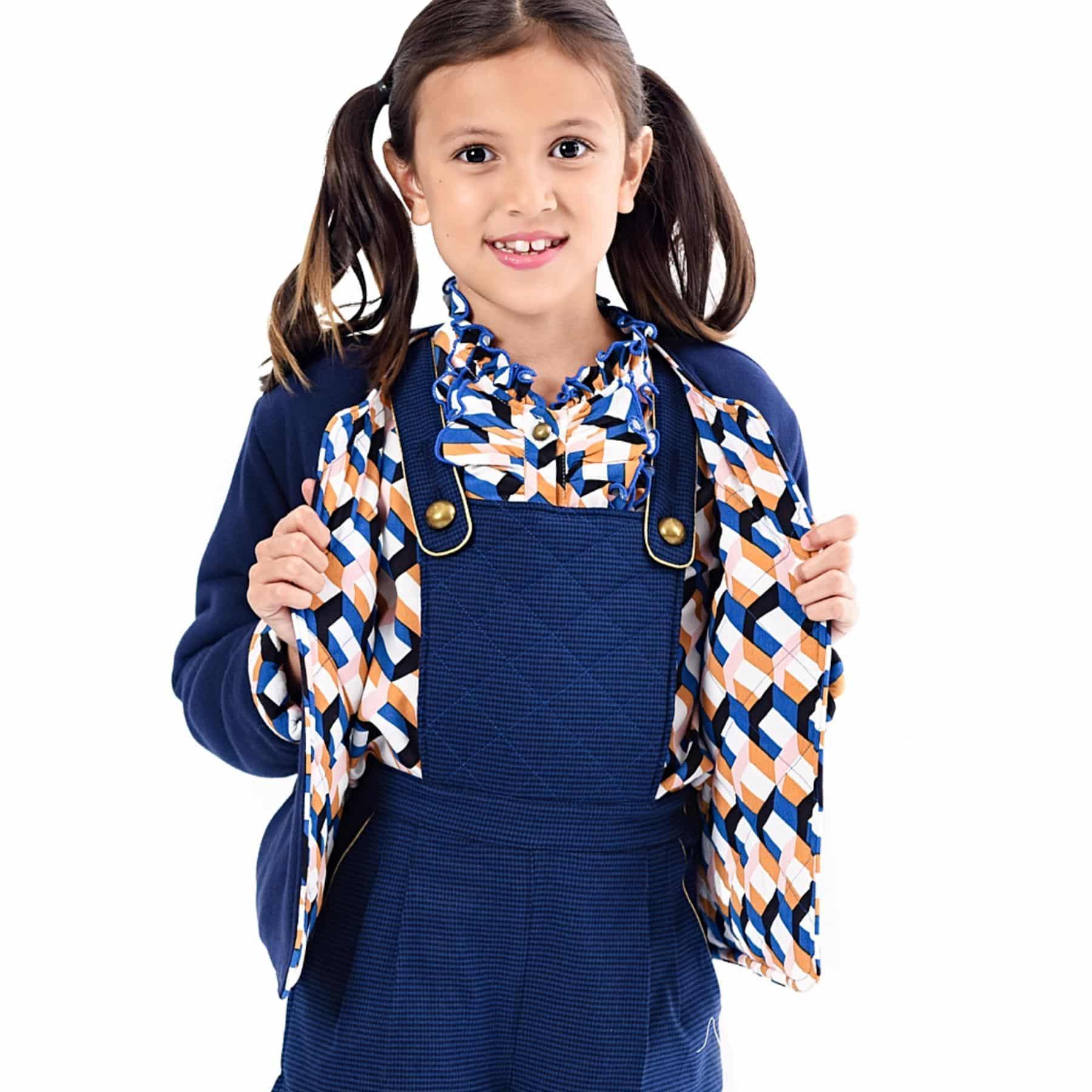 veste cardigan molleton bleu marine imprimé géométrique bleu roi, rose, jaune pour petites filles de 2 à 12 ans