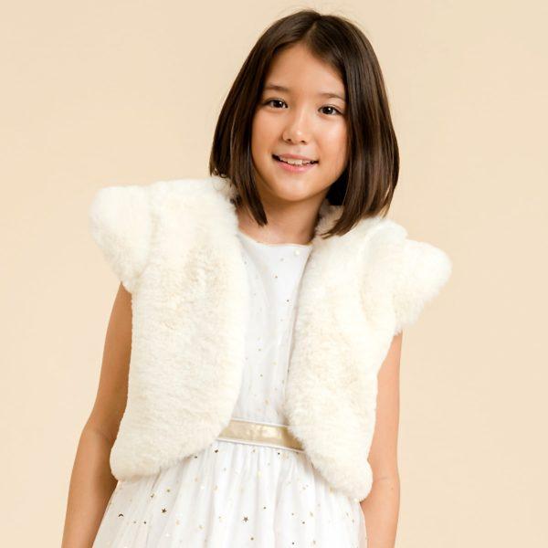Veste boléro de cérémonie pour filles à manches courtes, en fausse fourrure beige de la marque de mode pour enfant LA FAUTE A VOLTAIRE