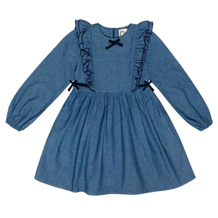 girl blue denim long sleeves ruffle dress