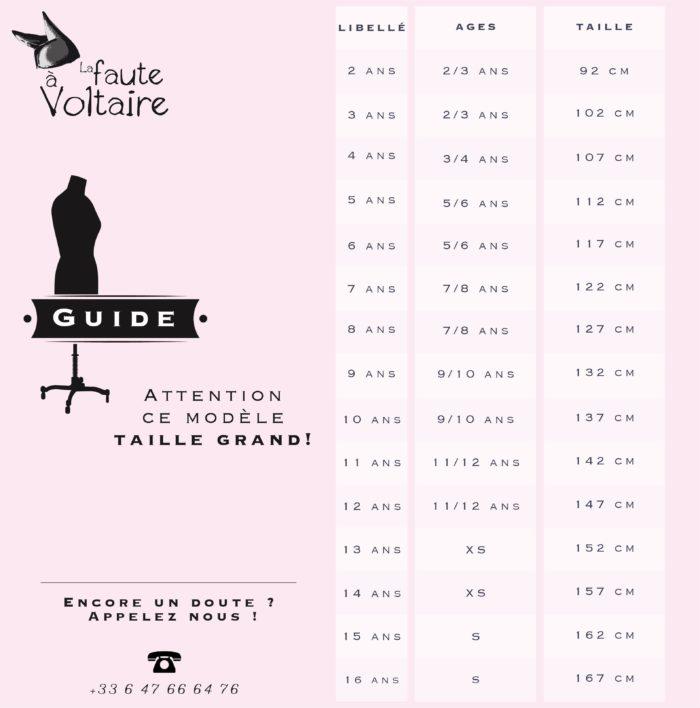 Guide des tailles mode enfant LA FAUTE A VOLTAIRE