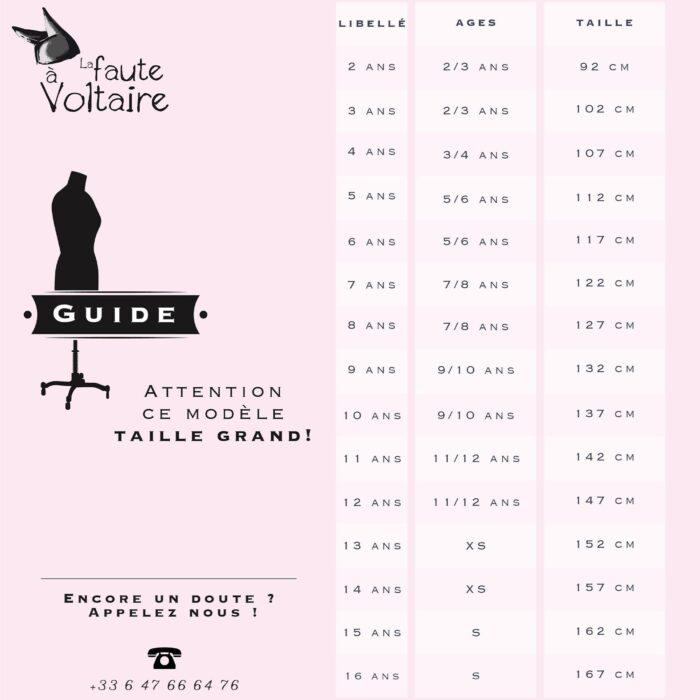 """Guide des tailles """"grands modèles parkas"""" mode enfant de 2 à 16 ans de la marque française en commerce équitable LA FAUTE A VOLTAIRE"""