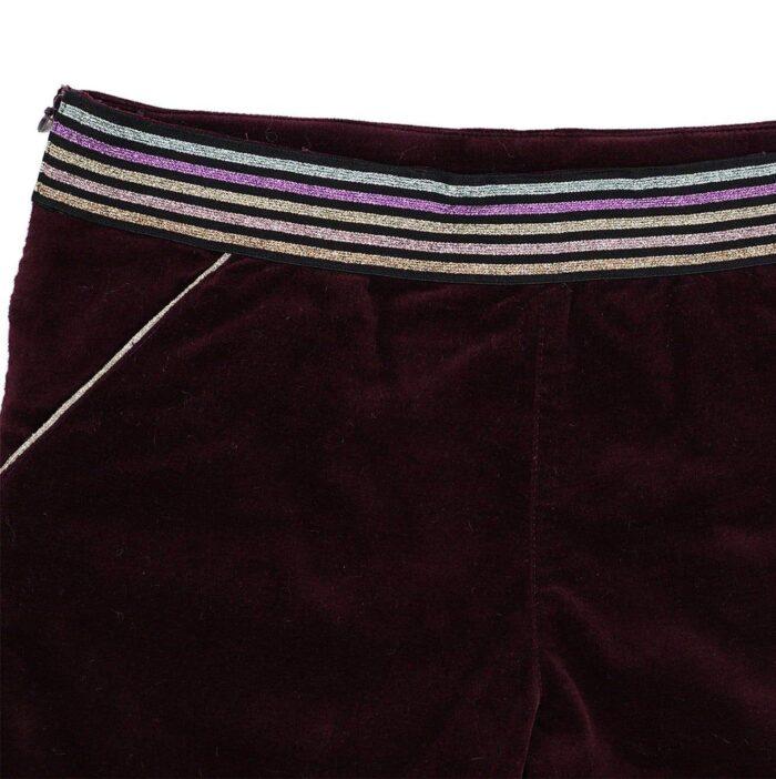 Short en velours milleraies prune avec ceinture rayures paillettes mode automne hiver fille