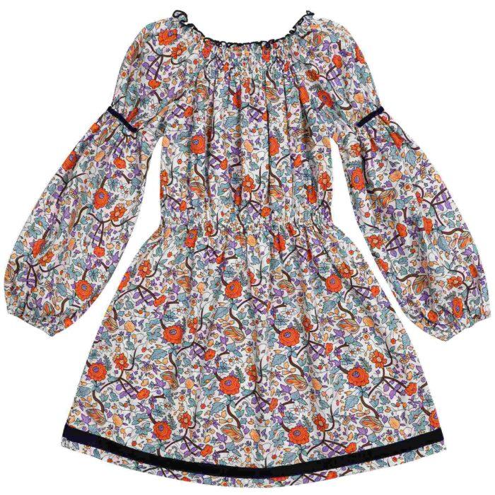 robe col smocks coton liberty orange et vert mode hiver fille