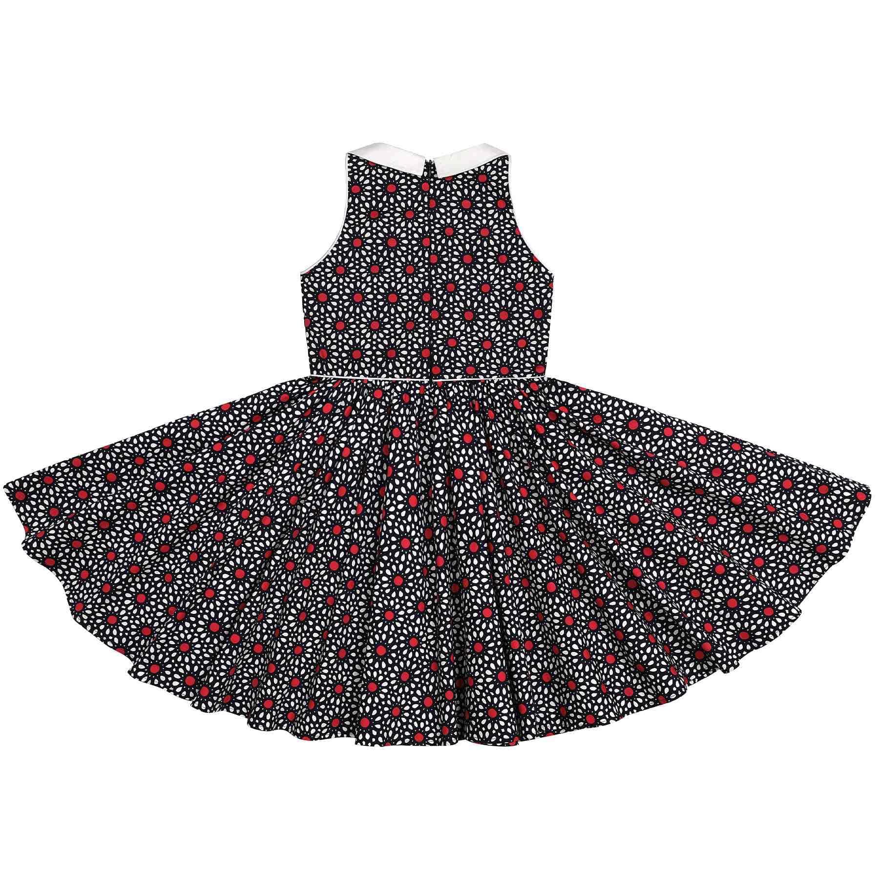 Robe qui tourne sans manche fleurs bleu marine et rouge avec col Claudine blanc pour petites filles de 2 à 14 ans
