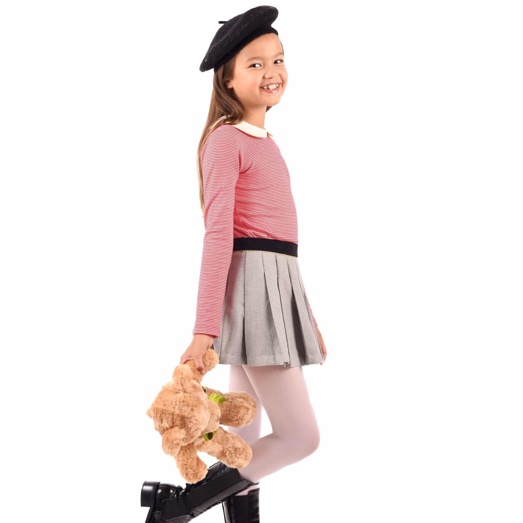 jupe plissée en laine gris souris et ceinture velours noir pour petites filles de 2 à 12 ans