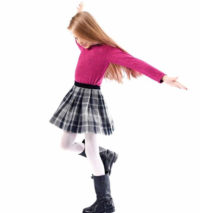 pull col roulé rose fuchsia chiné noir pour petites filles de 2 à 14 ans