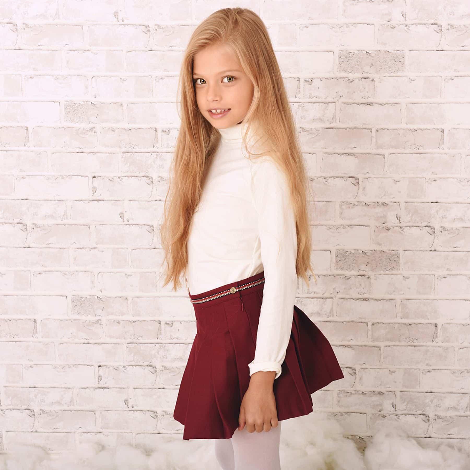 jupe plissée en coton gabardine bordeaux prune pour filles de 2 à 12 ans