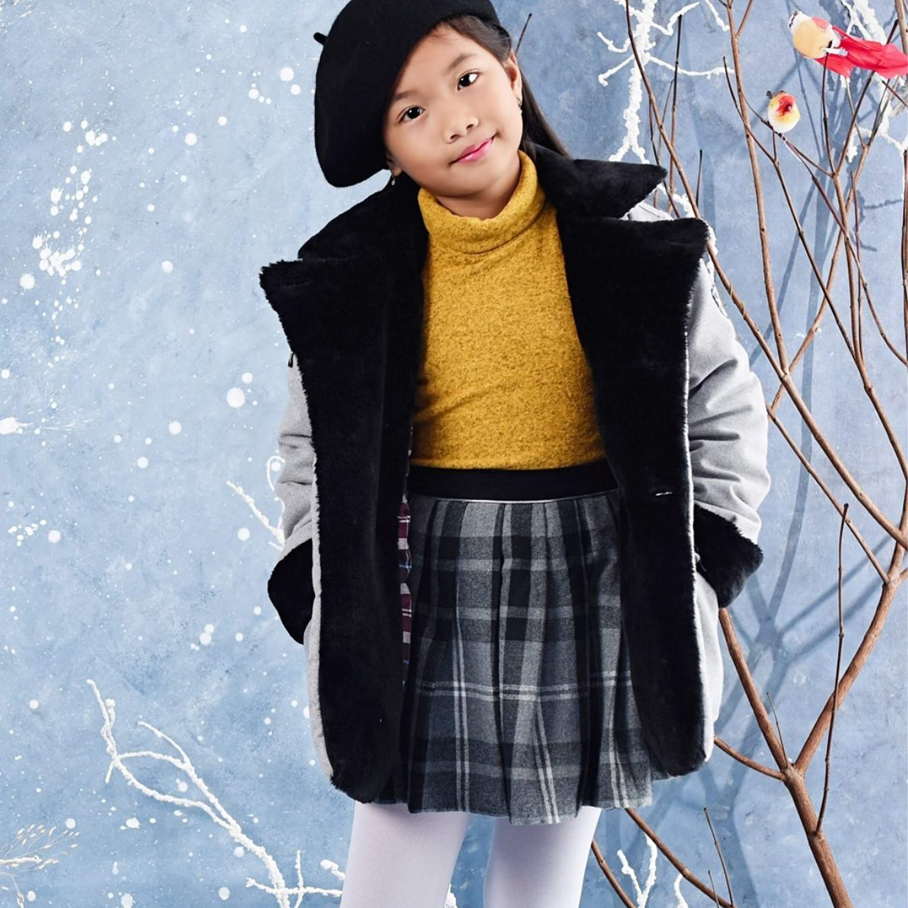 sous pull col roulé tout doux jaune moutarde chiné noir pour petites filles de 2 à 12 ans