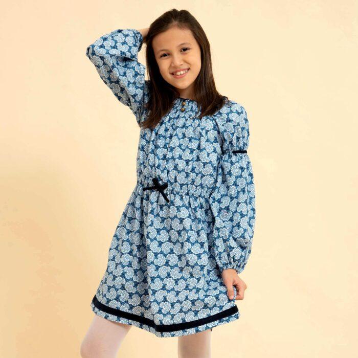 robe col smocks coton liberty bleu roi mode fille hiver