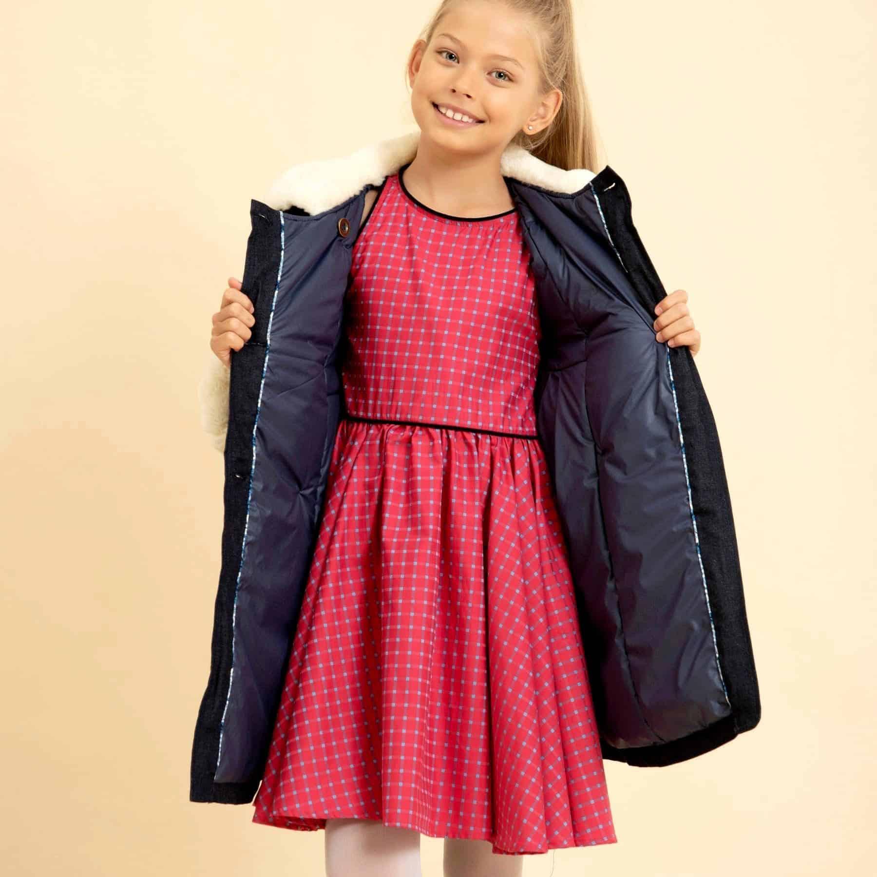 Tenue tendance bleu pour petites filles de 2 à 14 ans