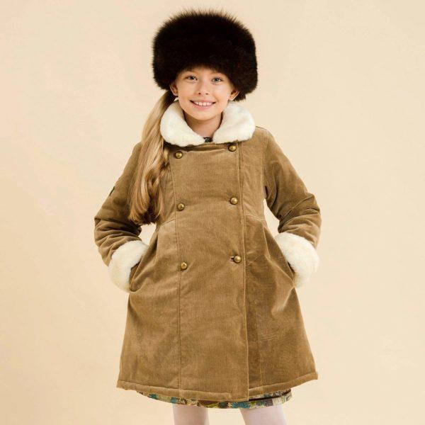Manteau velours beige marron glacé avec fermeture à boutons ronds et fausse fourrure au col et aux manches pour filles de 2 à 14 ans