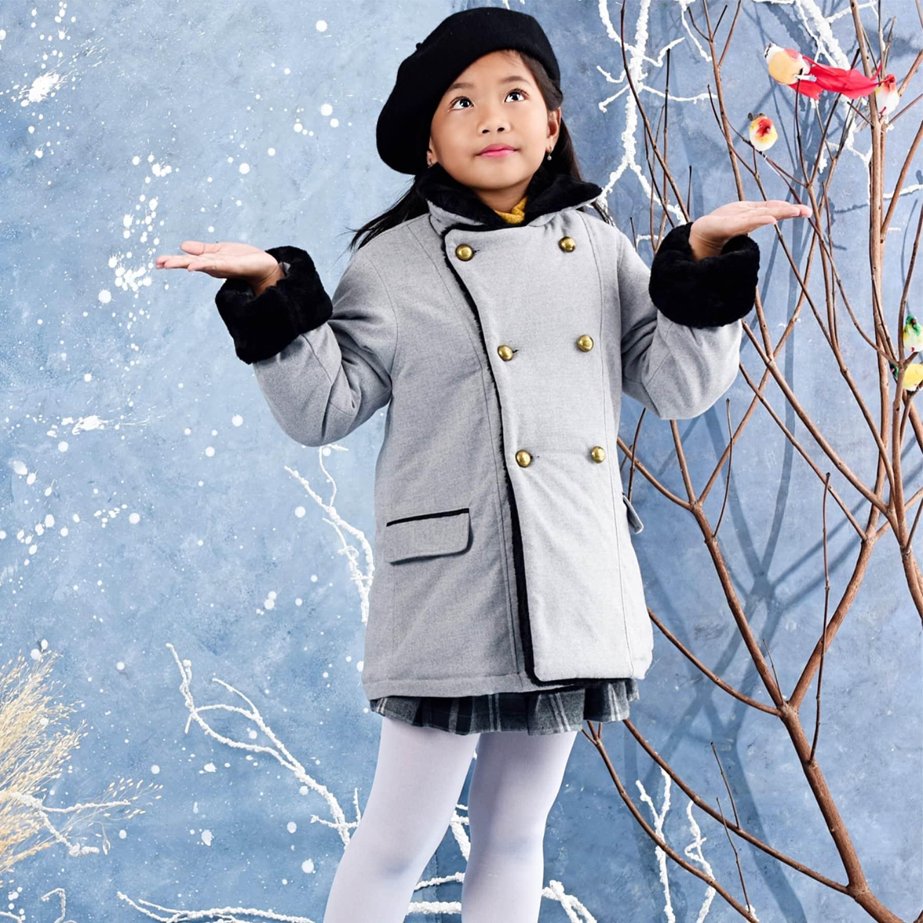 Manteau caban FILLE laine gris et fausse fourrure noir