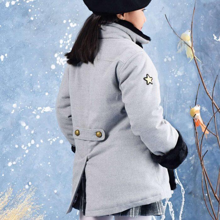 Manteau caban unisexe laine gris et fausse fourrure noir