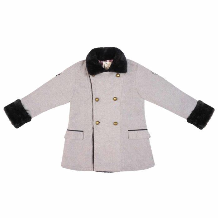 Manteau caban en laine gris souris, avec poches, martingale dans le dos et fausse fourrure noire au col et aux manches pour garçon de 2 à 12 ans. La Faute à Voltaire, marque créateur française pour enfants en commerce équitable.