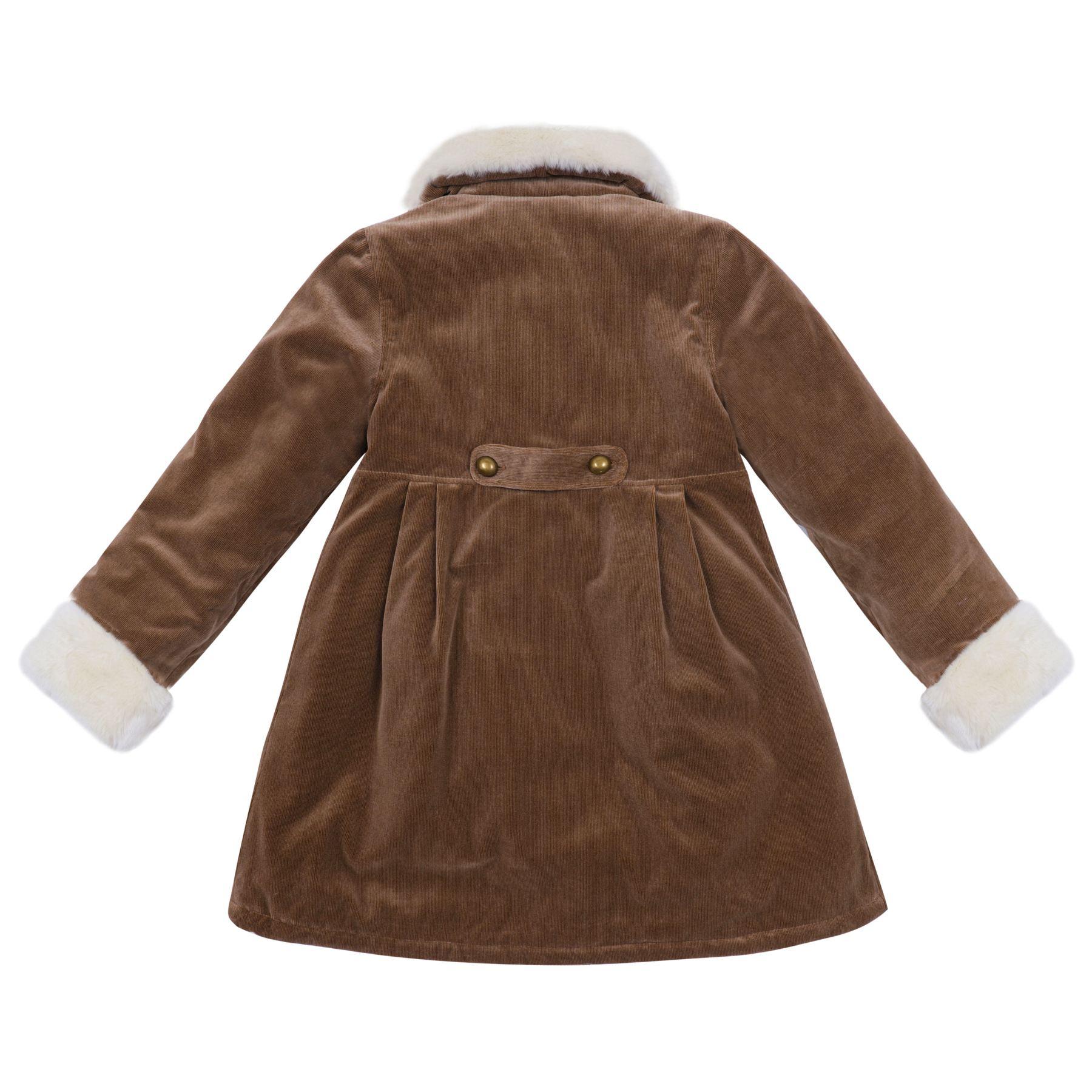 Manteau en velours milleraies beige et col en fausse fourrure blanc cassé avec manches ajustables pour petites filles de 2 à 14 ans