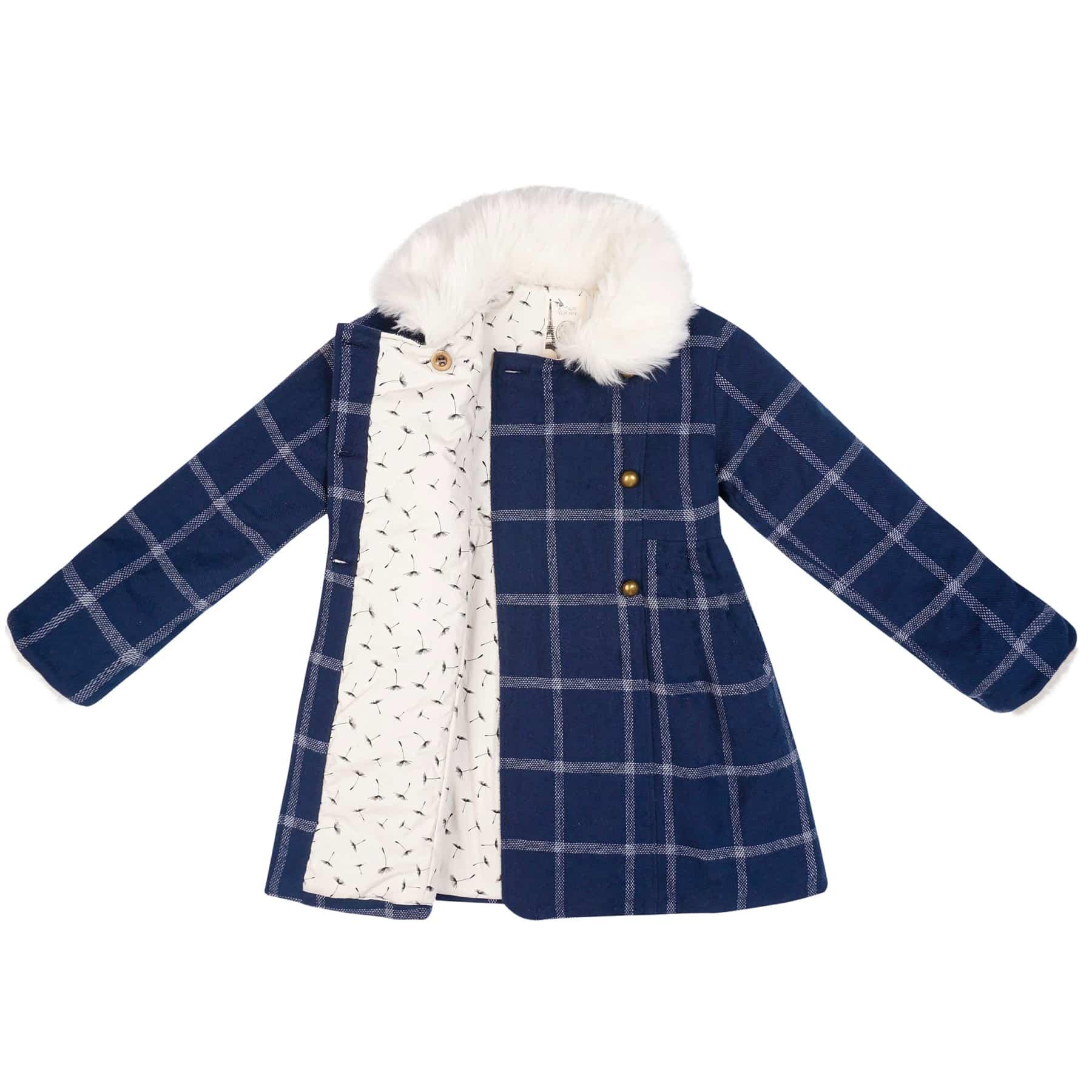 Manteau fille laine à carreaux bleus et blancs