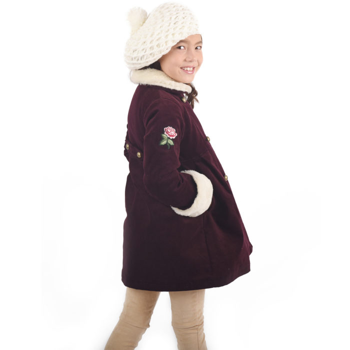 Manteau fille velours bordeaux