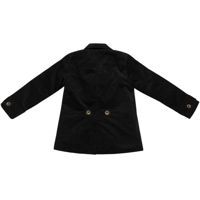 Manteau caban velours noir et doublure intérieure coton tartan rouge pour garçons et filles de 2 à 12 ans